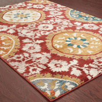 Woven - Sedona Red Gold Oriental Medallion Transitional Rug