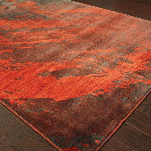 Woven - Sedona Red Grey Abstract Marble Contemporary Rug