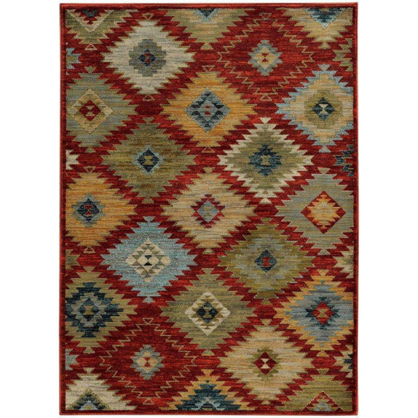 Sedona Red Multi Geometric Southwest/Lodge Transitional Rug - Free Shipping