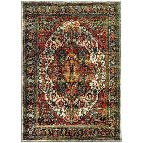 Oriental Weavers Sedona Red Multi Oriental Medallion Transitional Rug