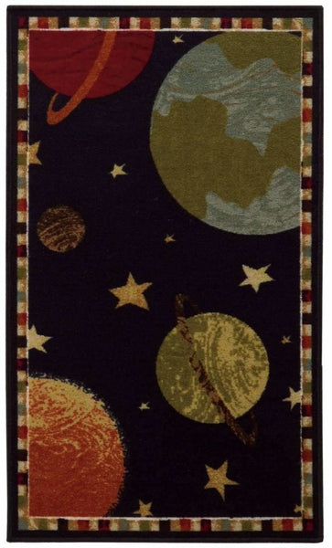 Serendipity Black Gold Juvenile Space/Planets Children's Rug - Free Shipping