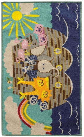 Serendipity Blue Grey Juvenile Animal Ark Children's Rug
