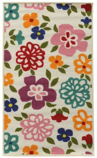 Serendipity Brown Green Juvenile Floral Children's Rug - Free Shipping