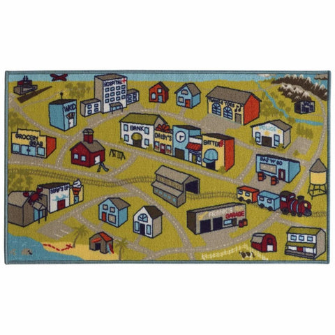 Oriental Weavers Serendipity Green Blue Juvenile City Town Children's Rug