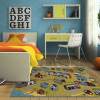 Woven - Serendipity Green Blue Juvenile City Town Children's Rug