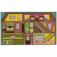Serendipity Green Purple Juvenile Doll House Children's Rug - Free Shipping