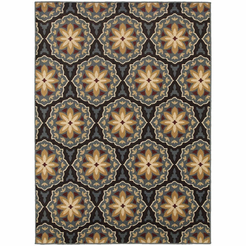 Stratton Blue Brown Floral  Transitional Rug