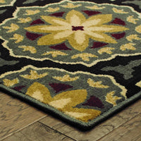 Woven - Stratton Blue Brown Floral  Transitional Rug