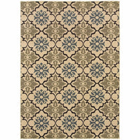 Stratton Blue Green Floral Quatrefoil Transitional Rug - Free Shipping