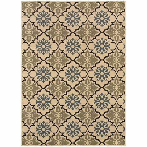 Oriental Weavers Stratton Blue Green Floral Quatrefoil Transitional Rug