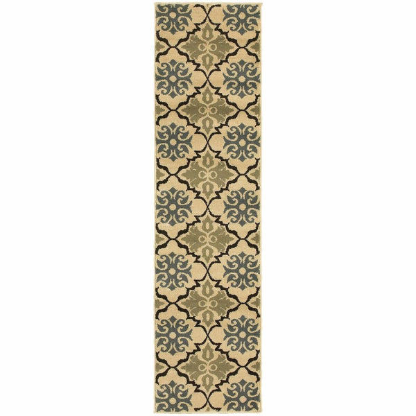 Woven - Stratton Blue Green Floral Quatrefoil Transitional Rug