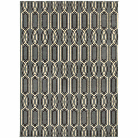 Oriental Weavers Stratton Blue Ivory Geometric Lattice Transitional Rug