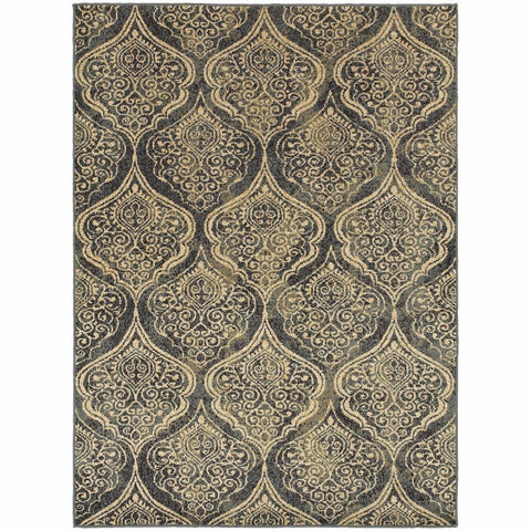 Stratton Blue Ivory Oriental Trefoil Transitional Rug