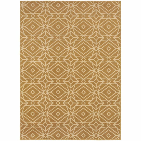 Stratton Gold Ivory Geometric Diamond Transitional Rug