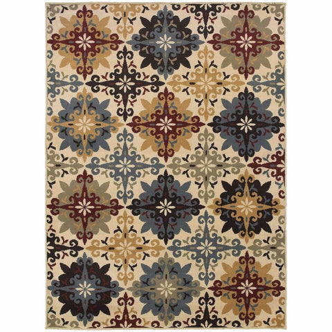 Oriental Weavers Stratton Ivory Multi Floral Trefoil Transitional Rug