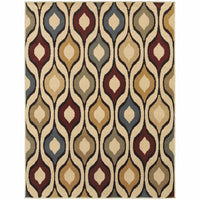 Stratton Ivory Multi Geometric Odgee Transitional Rug - Free Shipping