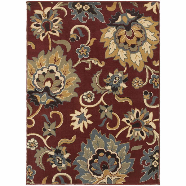 Stratton Red Gold Floral  Transitional Rug - Free Shipping