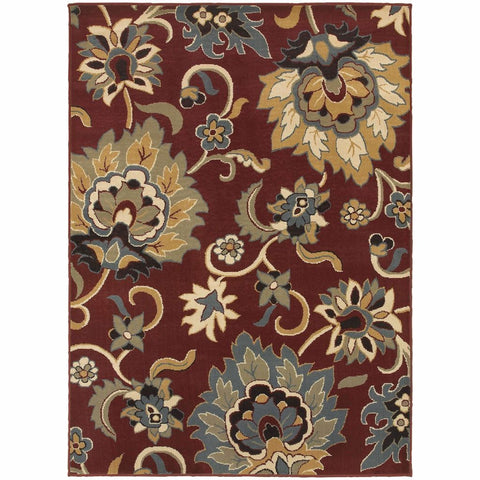Oriental Weavers Stratton Red Gold Floral  Transitional Rug