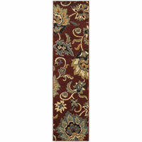 Woven - Stratton Red Gold Floral  Transitional Rug