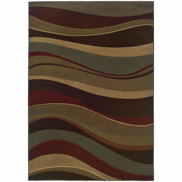 Tybee Beige Green Abstract Waves Contemporary Rug - Free Shipping