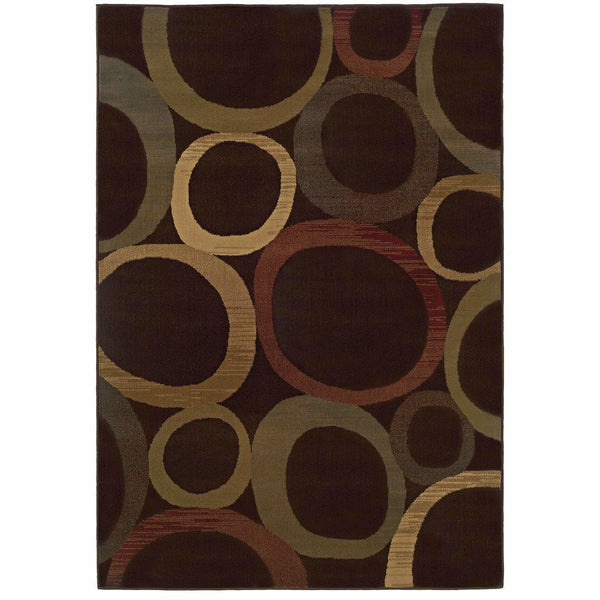 Tybee Brown Beige Geometric Circles Transitional Rug - Free Shipping