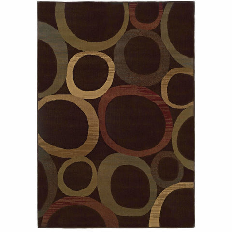 Tybee Brown Beige Geometric Circles Transitional Rug