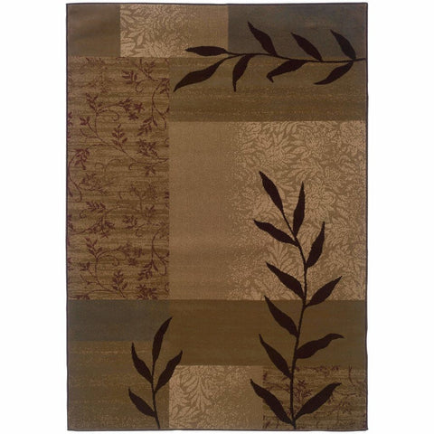 Tybee Gold Beige Geometric Botanical Transitional Rug