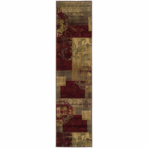 Tybee Green Red Geometric  Transitional Rug