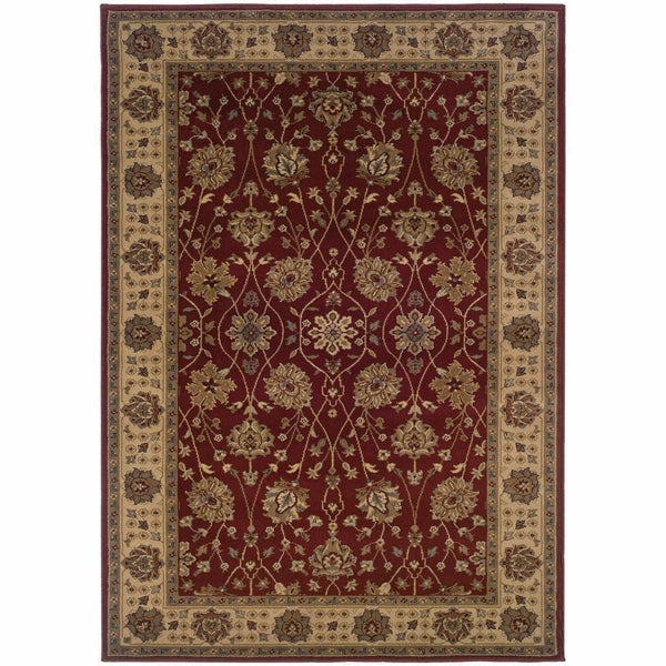 Tybee Red Beige Floral  Traditional Rug - Free Shipping