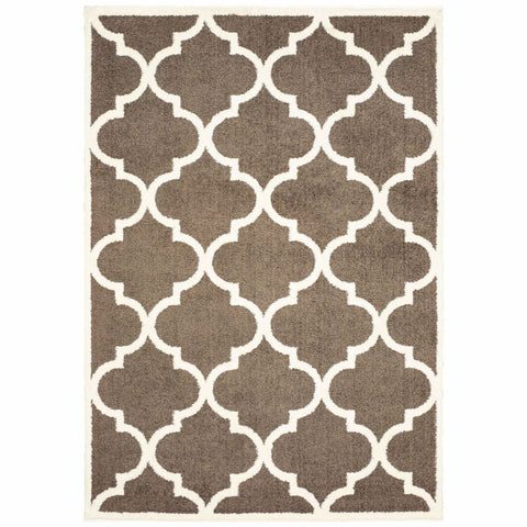Verona Brown Ivory Geometric Lattice Casual Rug