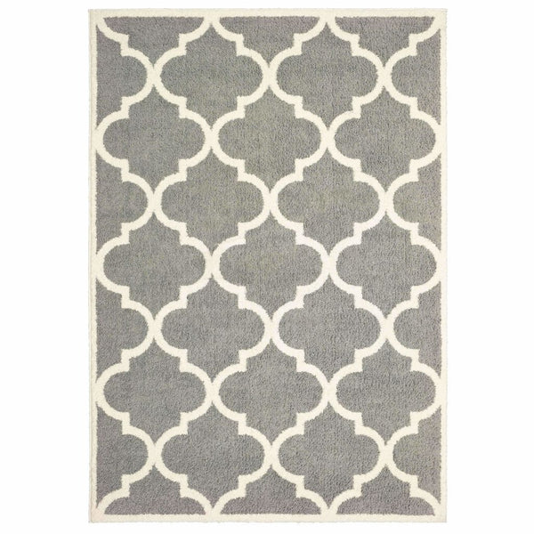Verona Grey Ivory Geometric Lattice Casual Rug - Free Shipping