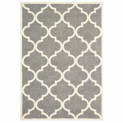 Verona Grey Ivory Geometric Lattice Casual Rug