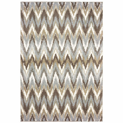 Verona Grey Taupe Geometric Chevron Casual Rug