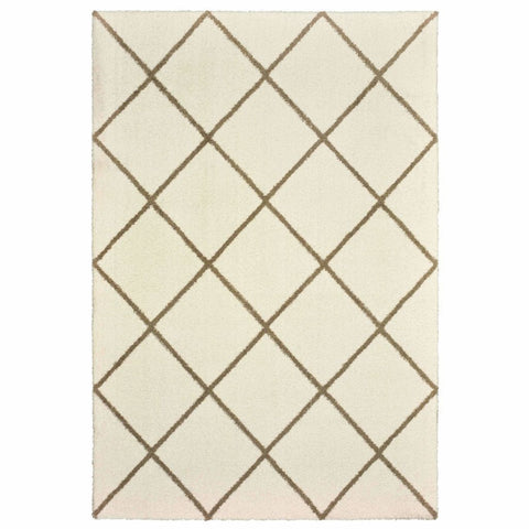 Oriental Weavers Verona Ivory Brown Geometric Lattice Casual Rug