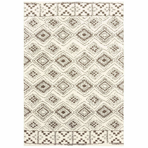 Verona Ivory Brown Geometric Tribal Casual Rug