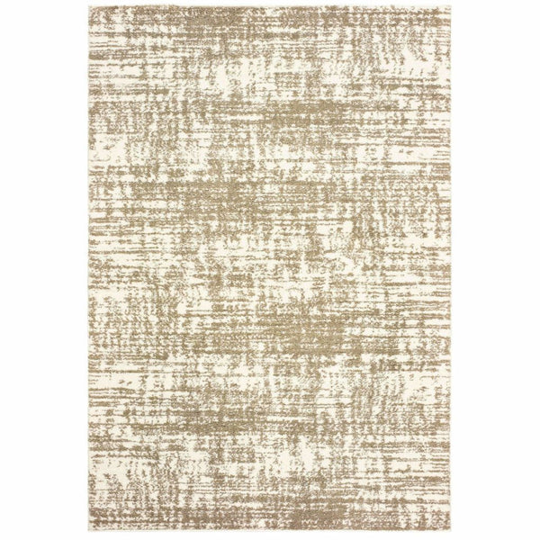 Verona Ivory Taupe Abstract Distressed Casual Rug - Free Shipping