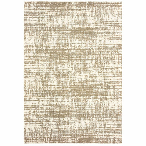 Verona Ivory Taupe Abstract Distressed Casual Rug