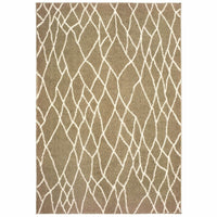 Verona Taupe Ivory Geometric Lattice Casual Rug - Free Shipping