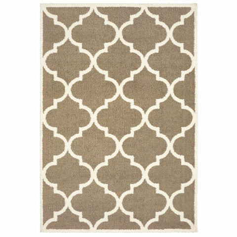 Verona Taupe Ivory Geometric Lattice Casual Rug