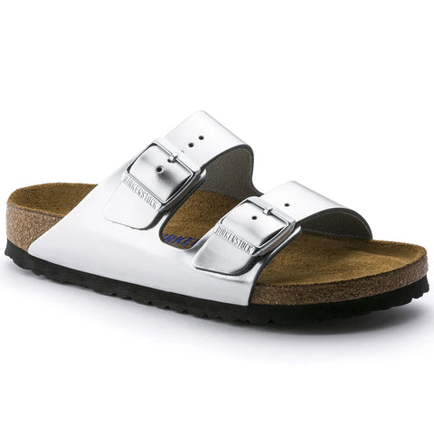 Birkenstock Arizona Soft Footbed Leather Metallic Silver