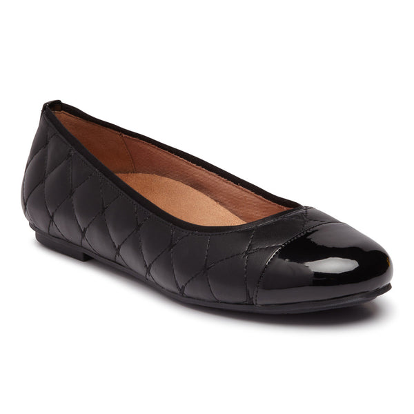 Vionic Desiree Quilted Flat Black