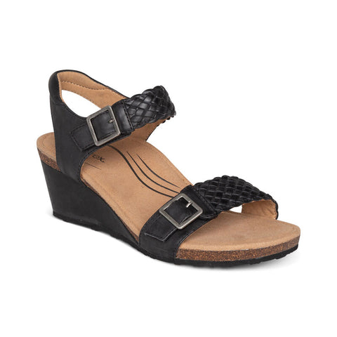 Aetrex Grace Adjustable Woven Wedge
