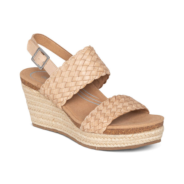 Aetrex Summer Woven Quarter Strap Wedge