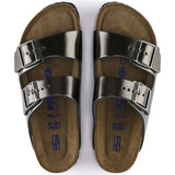 Birkenstock Arizona Soft Footbed Leather Metallic Anthracite