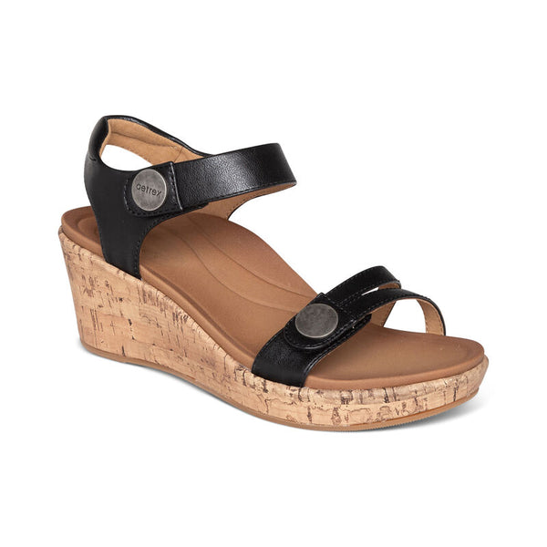 Aetrex Livia Adjustable Quarter Strap Wedge