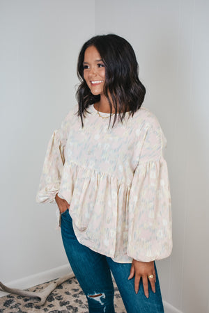 Pastel Abstract Print Babydoll Top