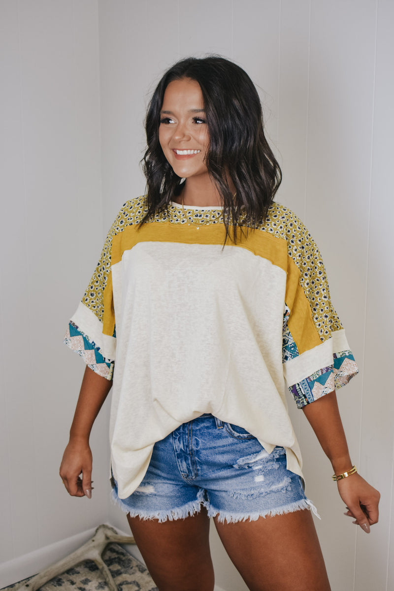 Boho Printed Honey and Oatmeal Tee