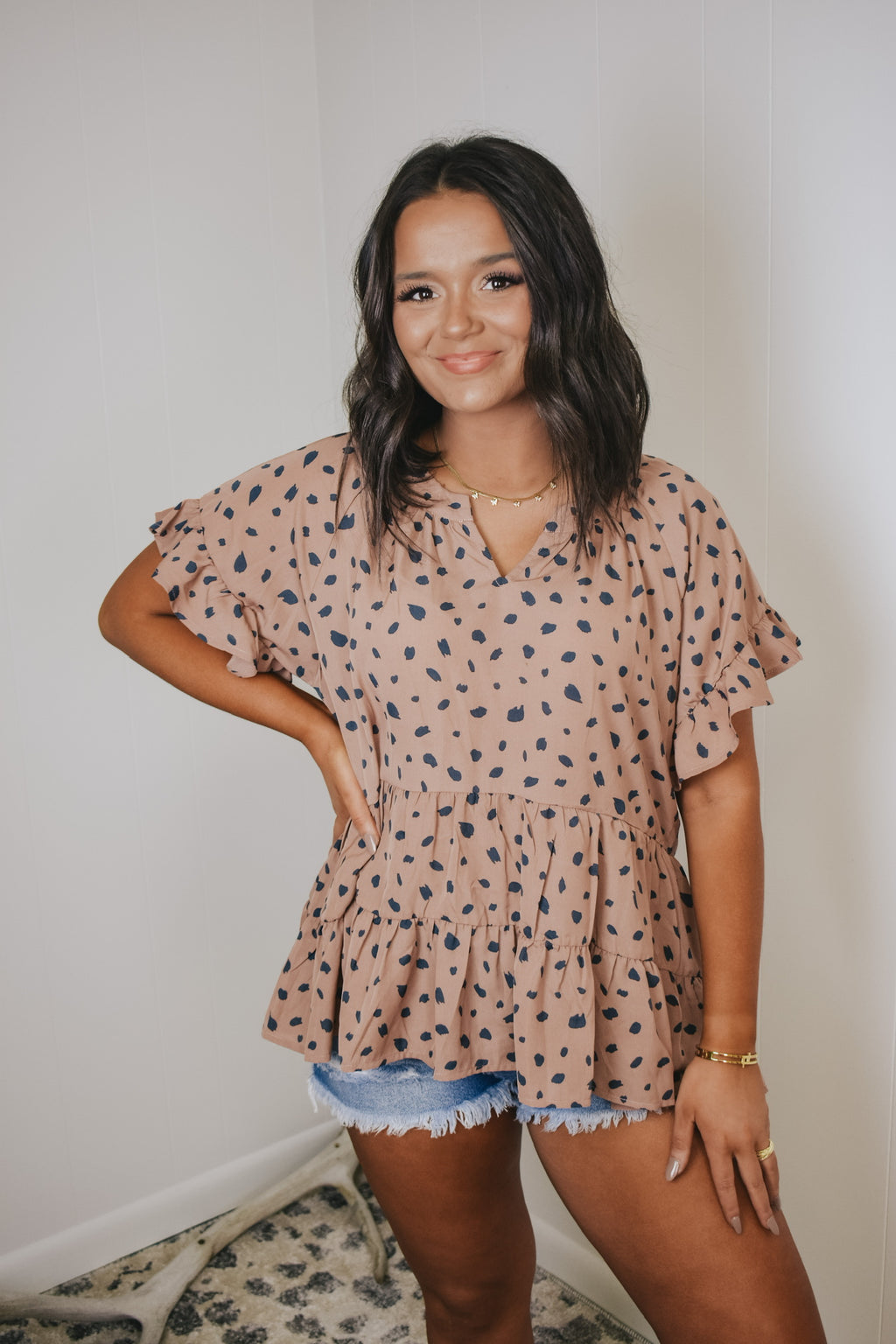 Mauve Dotted Babydoll Blouse
