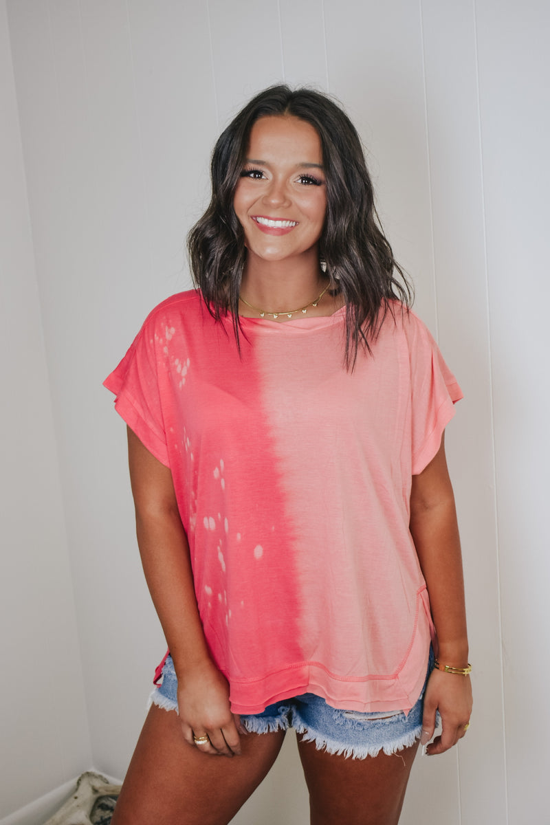 Coral Mix Bleached Detail Tee