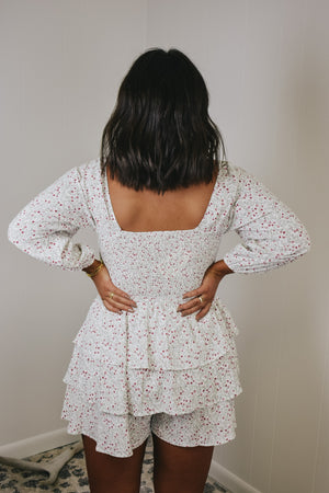 Smocked Floral Tiered Romper